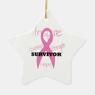 星の生存者の乳癌のピンクのリボンのオーナメント セラミックオーナメント