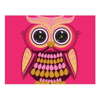 星の目のフクロウ-ピンクのオレンジ3 ポストカード