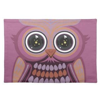 星の目のフクロウ-紫色のオレンジ ランチョンマット
