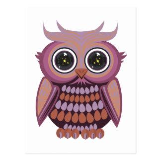 星の目のフクロウ-紫色のオレンジ(2) ポストカード