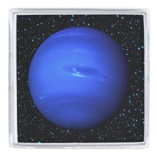 星の背景(太陽系)が付いている惑星ネプチューン シルバー ラペルピン