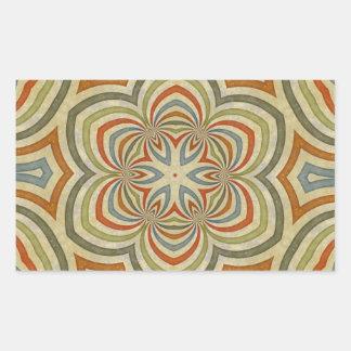 星の花の万華鏡のように千変万化するパターンの曼荼羅 長方形シール