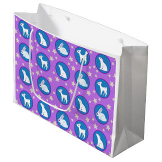 星の芸術パターンを持つ冬の白い動物 ラージペーパーバッグ