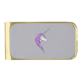 星の角との紫色の鬣の白いユニコーン ゴールド マネークリップ