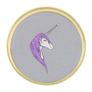 星の角との紫色の鬣の白いユニコーン ゴールド ラペルピン