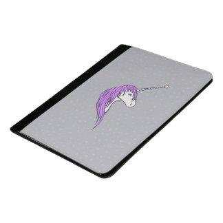 星の角との紫色の鬣の白いユニコーン パッドフォリオ