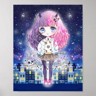 星の都市のかわいいチビ(小さくかわいく書いた感じ)の女の子 ポスター
