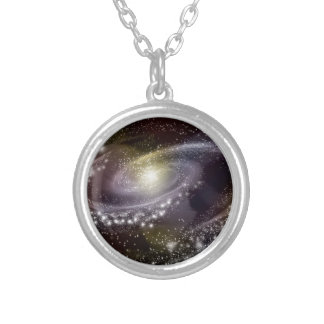 星の銀河系の銀河の宇宙のプリント シルバープレートネックレス