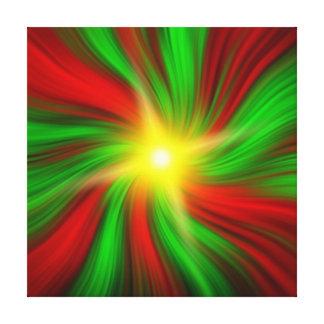 星はキャンバスプリントの緑及び赤い渦で破烈しました キャンバスプリント