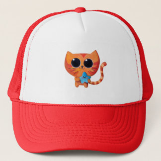 星を持つかわいいオレンジ猫 キャップ