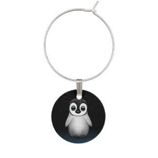 星を持つかわいいベビーのペンギン ワインチャーム