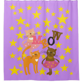 星を持つ猫の鳴き声猫 シャワーカーテン