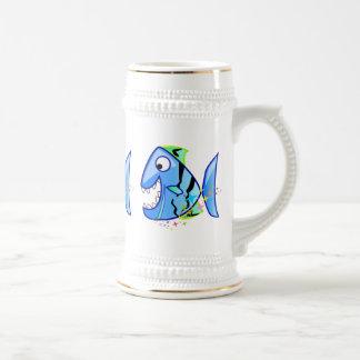 星を持つ青い熱帯ピラニア ビールジョッキ