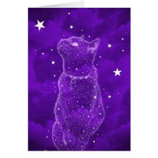 星を眺める猫の挨拶状 カード