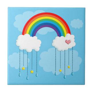 星を雨が降る虹および雲 タイル
