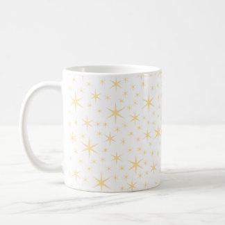 星パターン、白いおよび非金属金ゴールド色 コーヒーマグカップ