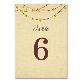 星ライトひもの結婚式のテーブル数カード カード