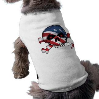 星及びストライプのスカル 犬用袖なしタンクトップ