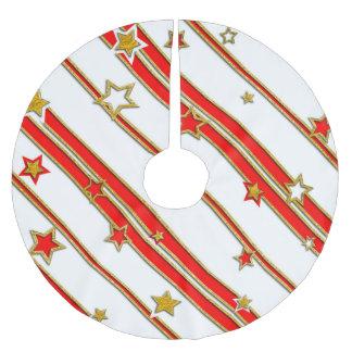 星及びストライプパターン金ゴールドの赤+ あなたのアイディア ブラッシュドポリエステルツリースカート