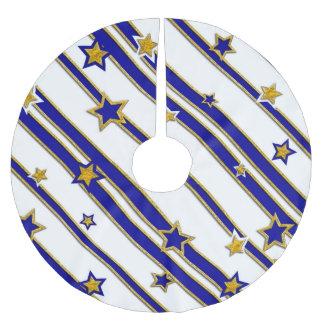 星及びストライプパターン金ゴールドの青 + あなたのアイディア ブラッシュドポリエステルツリースカート