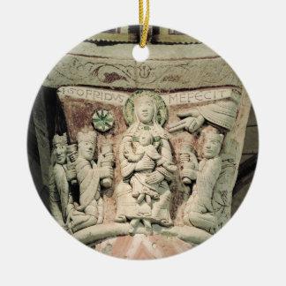 星学者の崇敬、柱頭(石) 陶器製丸型オーナメント