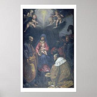 星学者の崇敬、1629年(キャンバスの油) ポスター