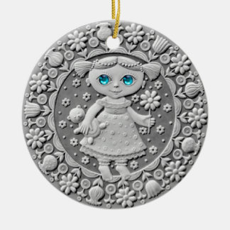 《星座》乙女座の硬貨の陶磁器のオーナメント 陶器製丸型オーナメント