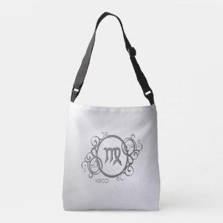 《星座》乙女座の(占星術の)十二宮図のデザインの銀 クロスボディバッグ