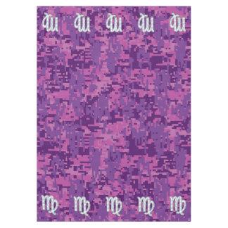《星座》乙女座の(占星術の)十二宮図の印のピンクの赤紫のデジタルカムフラージュ テーブルクロス