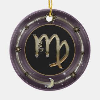 《星座》乙女座の(占星術の)十二宮図の印 陶器製丸型オーナメント