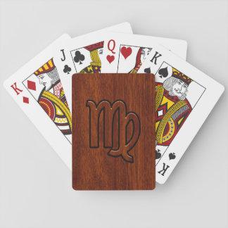 《星座》乙女座の(占星術の)十二宮図はマホガニーの木製のスタイルに署名します トランプ