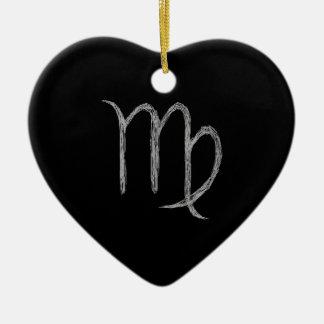《星座》乙女座。 (占星術の)十二宮図の占星術の印。 黒 陶器製ハート型オーナメント