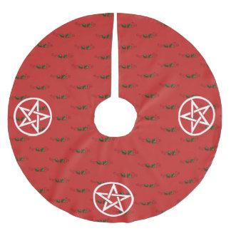 星形五角形およびヒイラギのユール(キリスト降誕祭)の木のスカート、異教徒、魔法使い ブラッシュドポリエステルツリースカート