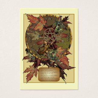 星形五角形のプロフィールカードが付いているウィッカ信者の車輪 名刺