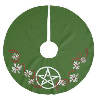 星形五角形のユール(キリスト降誕祭)の木のスカート、異教のな木のスカート ブラッシュドポリエステルツリースカート