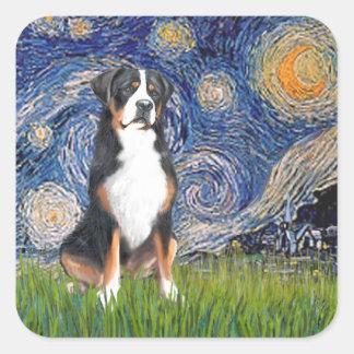 星明かりのより夜素晴らしいスイス山犬 スクエアシール