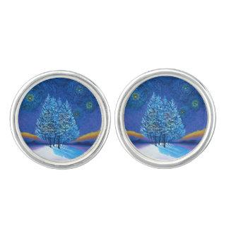 星明かりのゴッホのスタイルの青のクリスマス カフリンク
