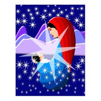星明かりのベビーイエス・キリストおよび聖母マリア ポストカード