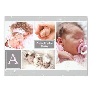 星明かりの写真のコラージュの誕生の発表 カード