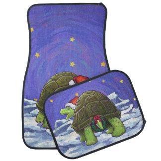 星明かりの夜カメのクリスマス カーマット