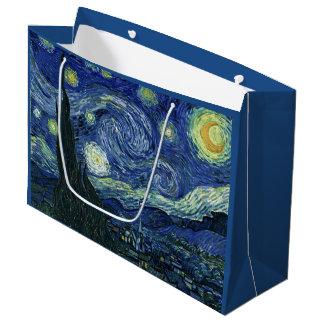 星明かりの夜フィンセント・ファン・ゴッホのファインアートの絵画 ラージペーパーバッグ