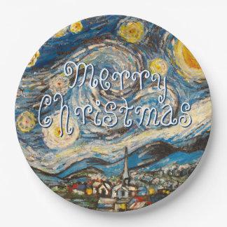 星明かりの夜メリークリスマス ペーパープレート