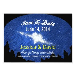 星明かりの夜保存の星のハート日付カード カード