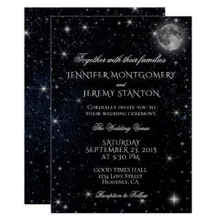 星明かりの夜月の結婚式招待状 カード