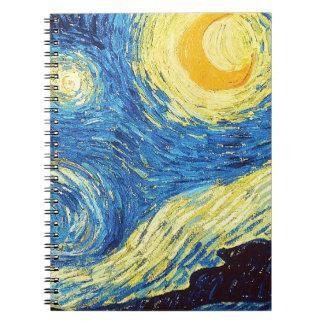 星明かりの夜月の芸術の螺線形ノート ノートブック