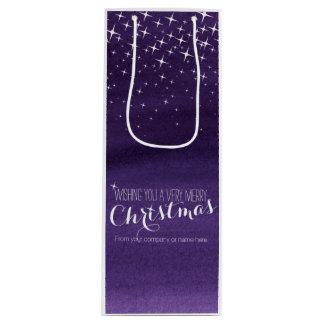 星明かりの夜水彩画のクリスマスのワインのバッグ ワインギフトバッグ