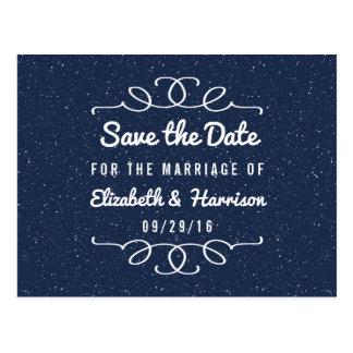 星明かりの夜結婚式の保存日付 ポストカード