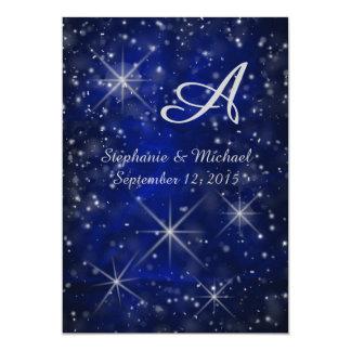 星明かりの夜銀のモノグラムのエレガントな青 カード