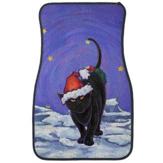 星明かりの夜黒猫のクリスマス カーマット