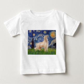 星明かりの夜-アフガンハウンド(クリーム色の立場) ベビーTシャツ